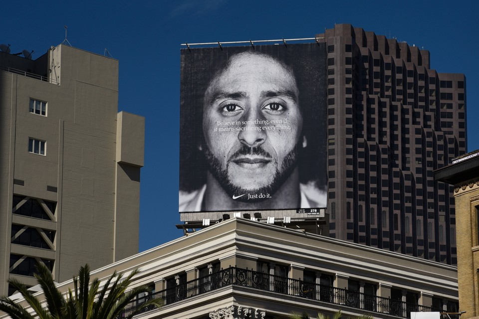 A billboard, featuring Colin Kaepernick's face, appeared atop Nike's office.